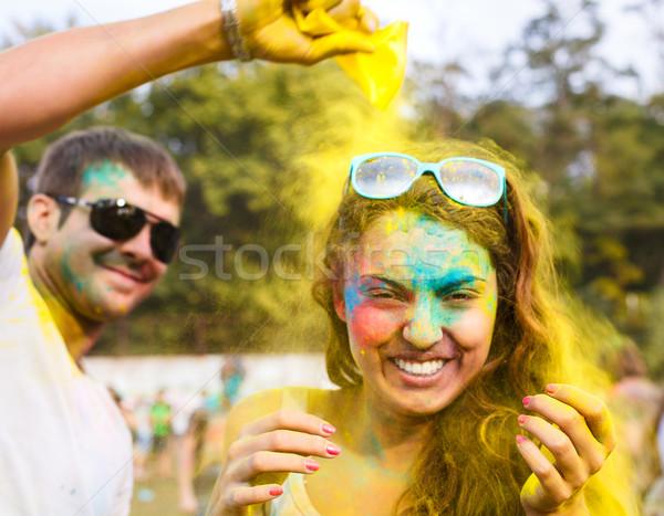 happy couple in love on holi color festival Stock photo © dashapetrenko