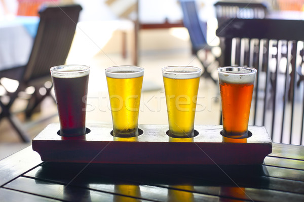 Four sorts of beer. Beer tasting Stock photo © dashapetrenko