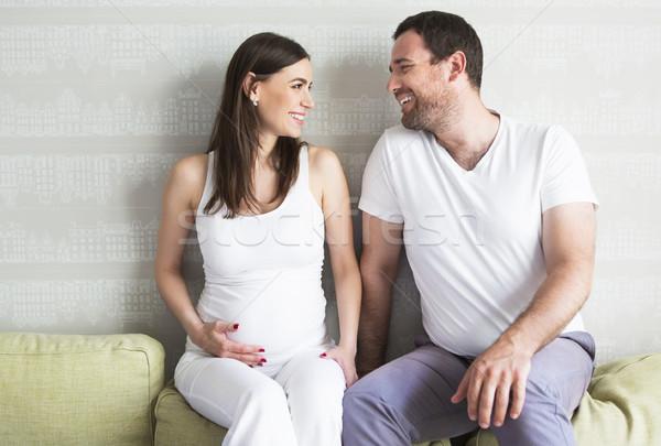 Femme enceinte jeune homme ensemble bébé homme Photo stock © dashapetrenko