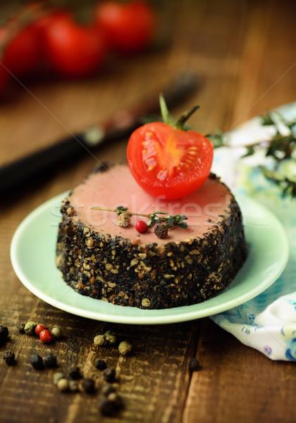 Savoureux canard apéritif fraîches herbes tomates Photo stock © dashapetrenko