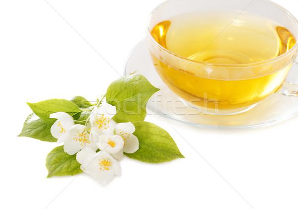 Csésze jázmin tea izolált fehér virág Stock fotó © dashapetrenko