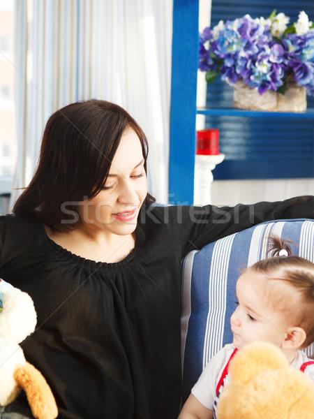 Boldog mosolyog anya egyéves kislány bent Stock fotó © dashapetrenko