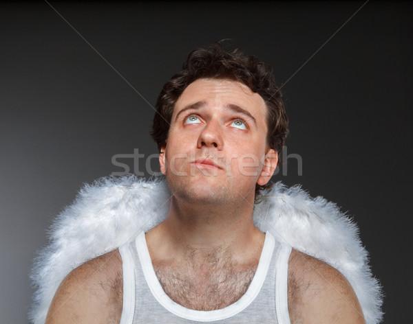 天使 白 翼 クレイジー 文字 肖像 ストックフォト © dashapetrenko