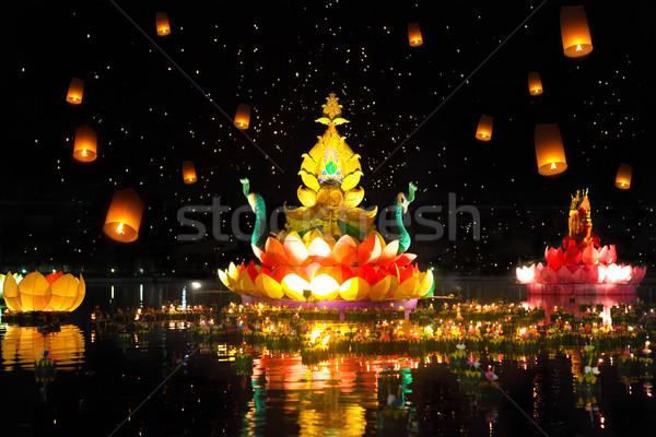 Foto stock: Tradicional · festival · grande · pequeno · barcos · velas