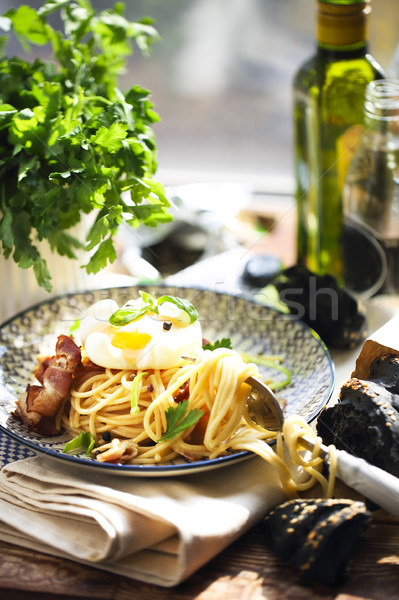 Nicely served spaghetti carbonara  Stock photo © dashapetrenko