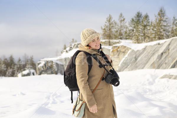 Professionele vrouwelijke film fotograaf Rusland marmer Stockfoto © dashapetrenko