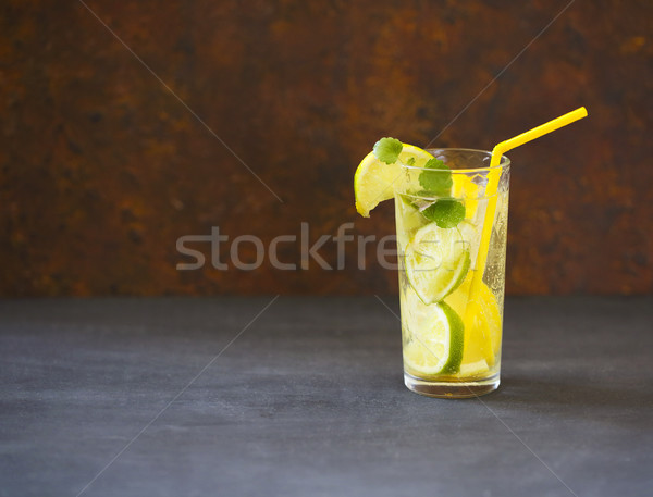 Close up of mojito cocktail in the glass on dark background Stock photo © dashapetrenko