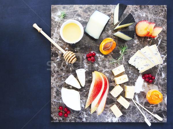 Tányér antipasti falatozó márvány tábla sajt Stock fotó © dashapetrenko