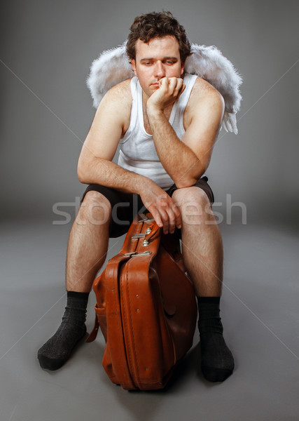 天使 ブラウン 袋 クレイジー 文字 肖像 ストックフォト © dashapetrenko