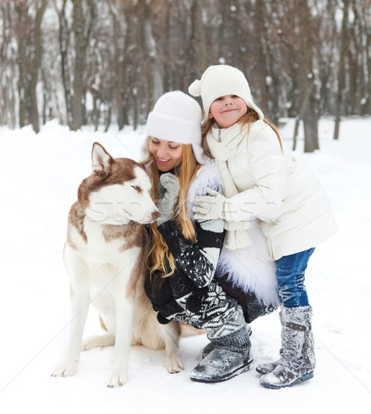 Mother with daughter with huskies dog Stock photo © dashapetrenko