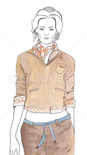 Sketch in the brown tones Stock photo © dashapetrenko