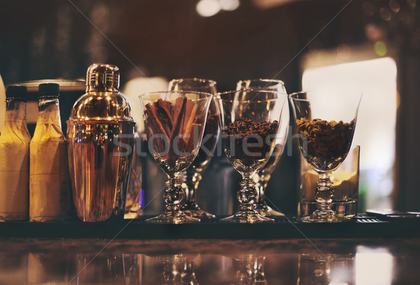 Classic bar counter with bottles in background Stock photo © dashapetrenko
