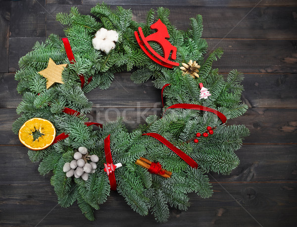 Advenimiento Navidad corona rústico fiesta Foto stock © dashapetrenko
