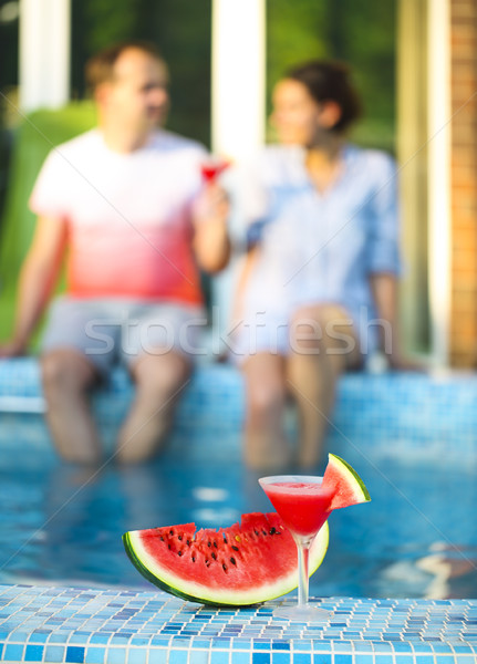 Watermelon margarita near pool Stock photo © dashapetrenko