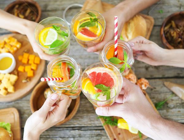 Familie diner limonade toast voedsel Stockfoto © dashapetrenko