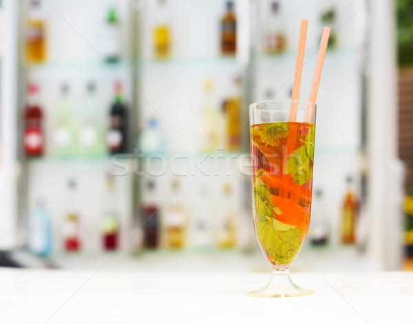 Morango mojito beber gelo de cal Foto stock © dashapetrenko