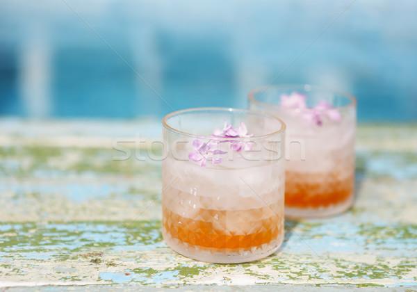 сирень лимонад воды цветы вечеринка морем Сток-фото © dashapetrenko