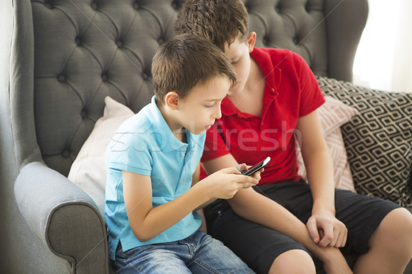 Older brother on the sofa and younger brother playing mobile pho Stock photo © dashapetrenko