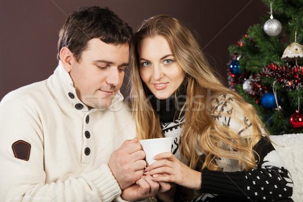 Retrato feliz jovem natal casal Foto stock © dashapetrenko