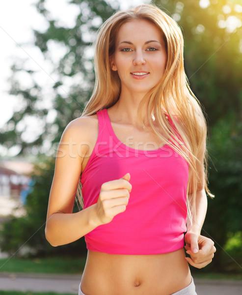 Sport fitness courir femme jogging extérieur Photo stock © dashapetrenko