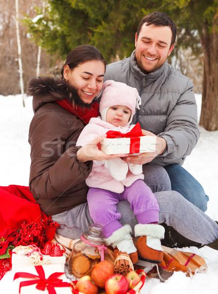 Boldog mosolyog család tél piknik kint Stock fotó © dashapetrenko