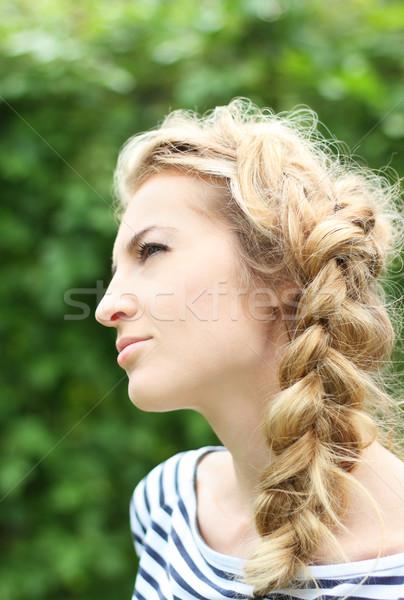 Blond fille séduisant visage modèle cheveux Photo stock © dashapetrenko