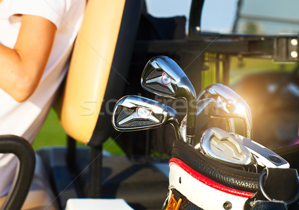 Professional golf gear on the golf course at sunset Stock photo © dashapetrenko