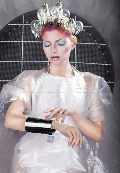 Séduisant femme blonde toucher bouton interface Photo stock © dashapetrenko