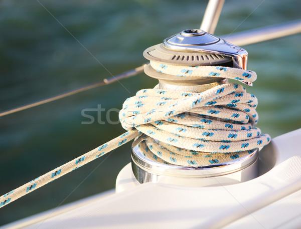 Vitorlás részletes alkatrészek közelkép kötél jacht Stock fotó © dashapetrenko