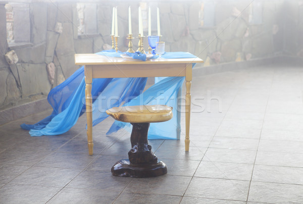 Table setting in vintage style is decorated with candles Stock photo © dashapetrenko
