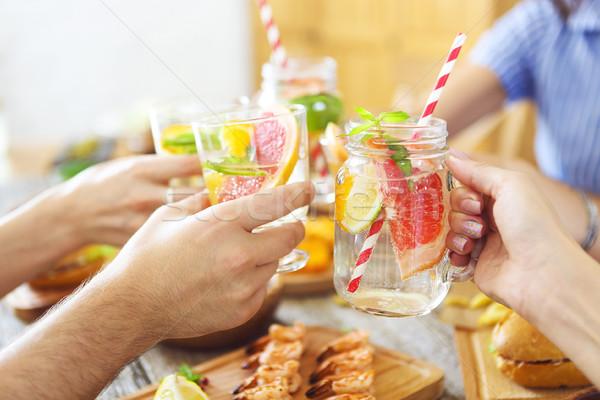 Famille dîner limonade alimentaire fête Photo stock © dashapetrenko
