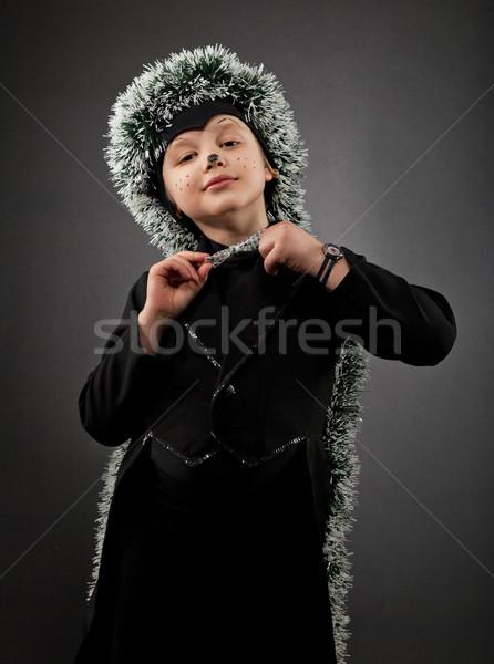 Retrato pequeno menino ouriço terno Foto stock © dashapetrenko