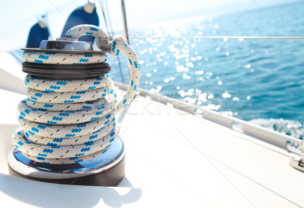 Stock photo: Sailboat winch and rope yacht detail