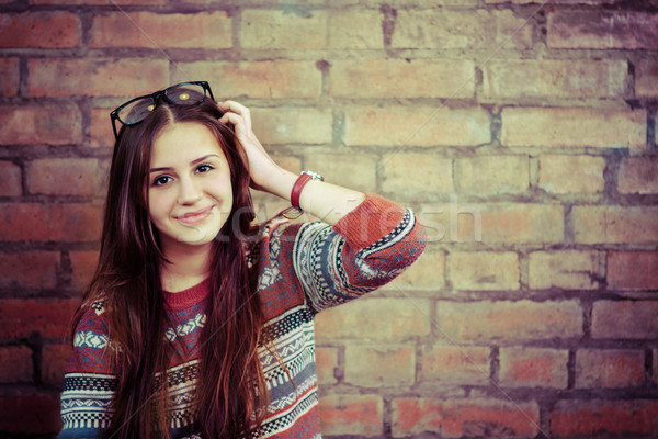 Close up portrait of a beautiful cute teen girl smilling Stock photo © dashapetrenko