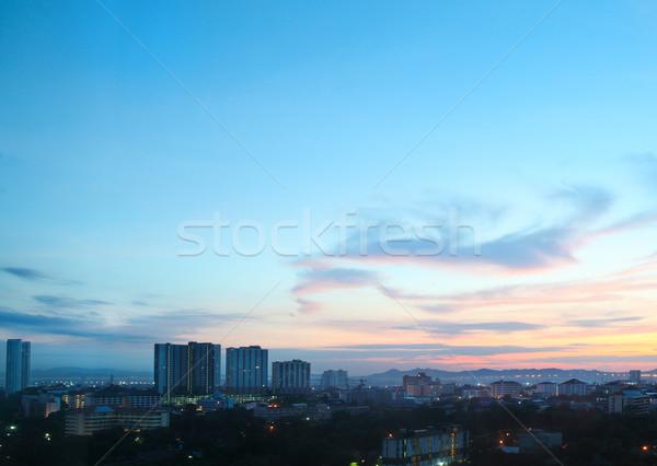 Város napfelkelte reggel szürkület Thaiföld tenger Stock fotó © dashapetrenko