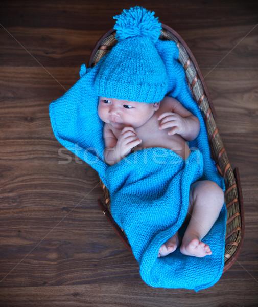 Сток-фото: ребенка · мальчика · синий · корзины
