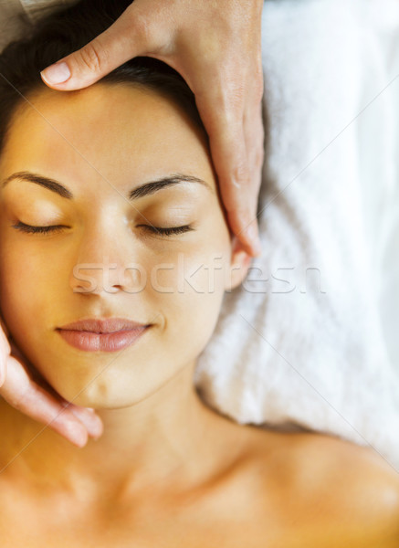 Stock photo: Close up portrait of a young woman getting spa treatment