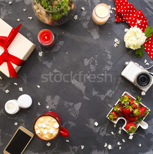 Stock photo: Flat lay with present, candles, cofffee and red ribbon