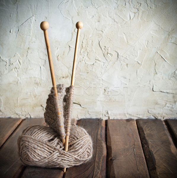 мяча пряжи деревянный стол ретро-стиле Сток-фото © dashapetrenko