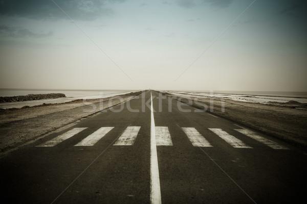 Empty dark road near the CHOTT EL JERID Stock photo © dashapetrenko