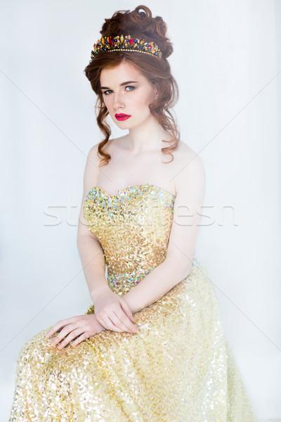 красивой моде модель позируют вечернее платье женщину Сток-фото © dashapetrenko