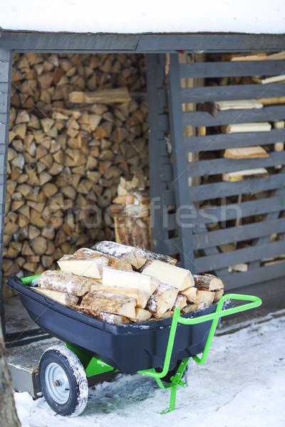 薪 冬 木材 雪 ストックフォト © dashapetrenko