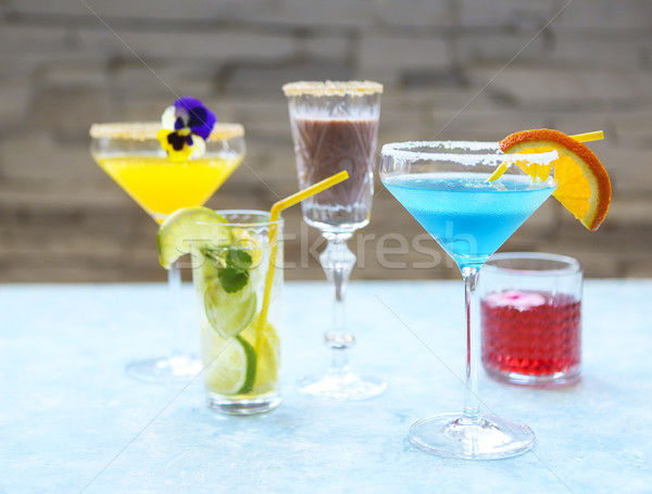 Stockfoto: Alcohol · cocktails · turkoois · water · voedsel