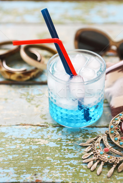Cocktail Blue lagoon on the table background  Stock photo © dashapetrenko