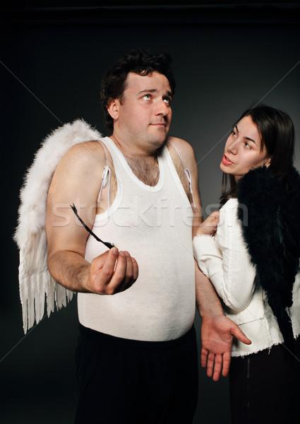 天使 白 翼 気味悪い 文字 肖像 ストックフォト © dashapetrenko