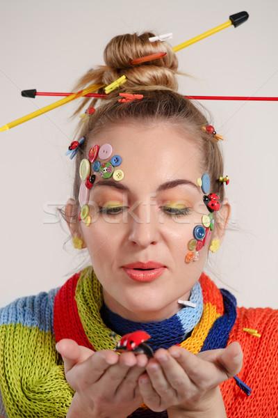 Portre genç sarışın kadın yaratıcılık makyaj Stok fotoğraf © dashapetrenko
