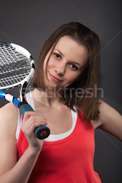 Portrait adolescente raquette sport Photo stock © dashapetrenko