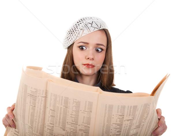 Сток-фото: молодые · Cute · брюнетка · девушки · газета · парижский