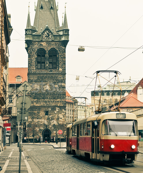 Tram at old street in Prague Stock photo © dashapetrenko