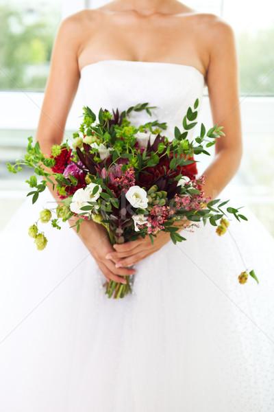 Ongebruikelijk sappig bloemen handen retro-stijl Stockfoto © dashapetrenko